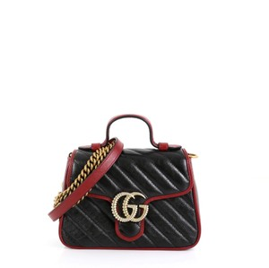 Gucci Marmont Flap . Satchel in black and red