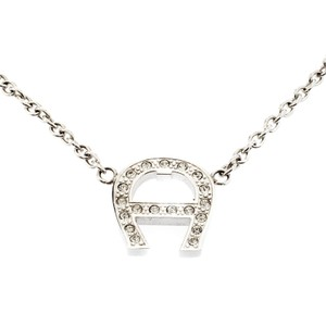 Etienne Aigner Aigner Crystal Silver Tone Station Necklace