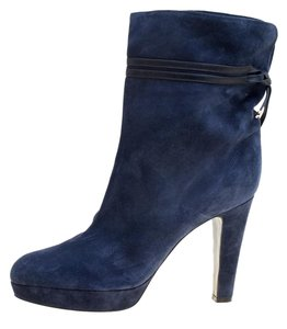 Sergio Rossi Suede Leather Blue Boots