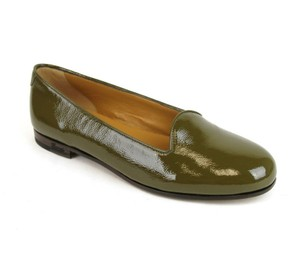 Gucci Patent Leather Ballet Script Olive Green Flats