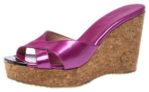 Jimmy Choo Patent Leather Wedge Rubber Purple Sandals