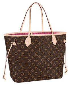 Louis Vuitton Neverfull Mm New With Tags Tote in Monogram pivone/ pink