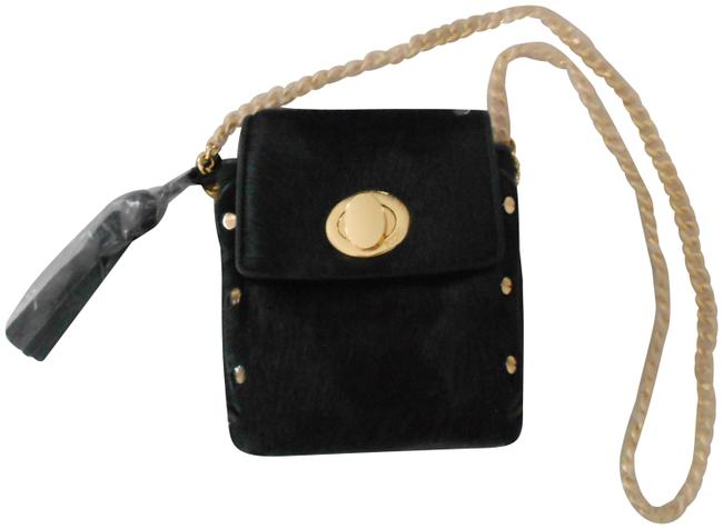 Item - Stud Accented Calf Hair/Leather Black Leather Cross Body Bag