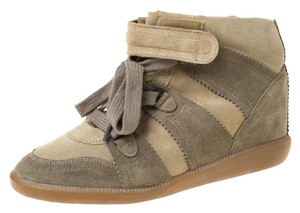 Isabel Marant Suede Lace Wedge Green Athletic