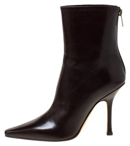 Jimmy Choo Leather Pointed Toe Ankle Brown Boots