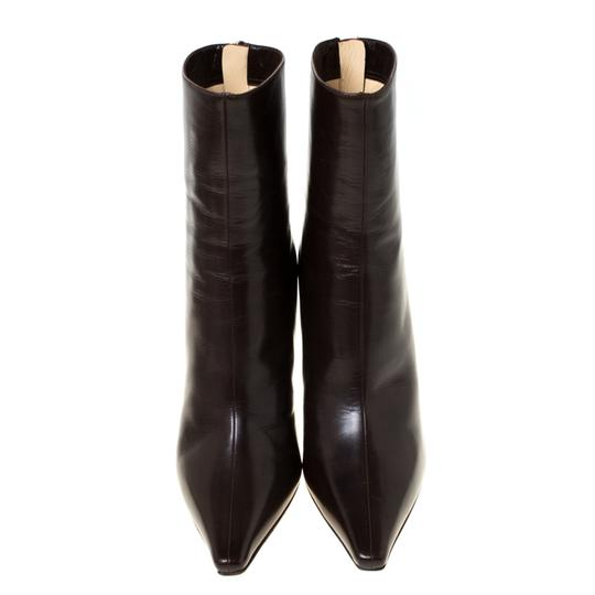 Jimmy Choo Leather Pointed Toe Ankle Brown Boots Image 1