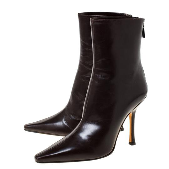 Jimmy Choo Leather Pointed Toe Ankle Brown Boots Image 3