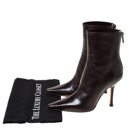 Jimmy Choo Leather Pointed Toe Ankle Brown Boots Image 6