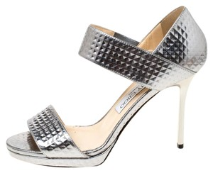 Jimmy Choo Leather Textured Open Toe Silver Sandals