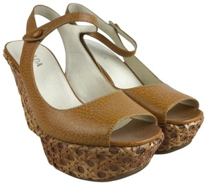 Prada Leather Woven Rattan Yellow Wedges