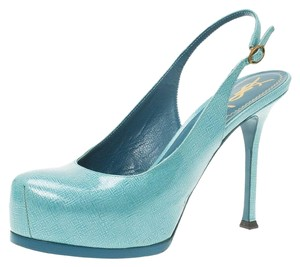 Saint Laurent Patent Slingback Blue Sandals