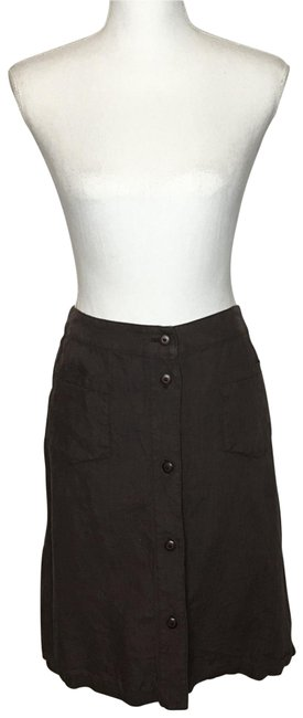 Item - Chocolate Brown Button Front Linen Skirt Size 10 (M, 31)
