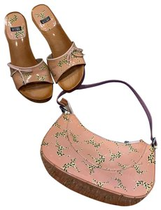 Stuart Weitzman pink purse & shoes Mules