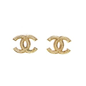 Chanel Timeless CC Textured gold hardware pierced earrings