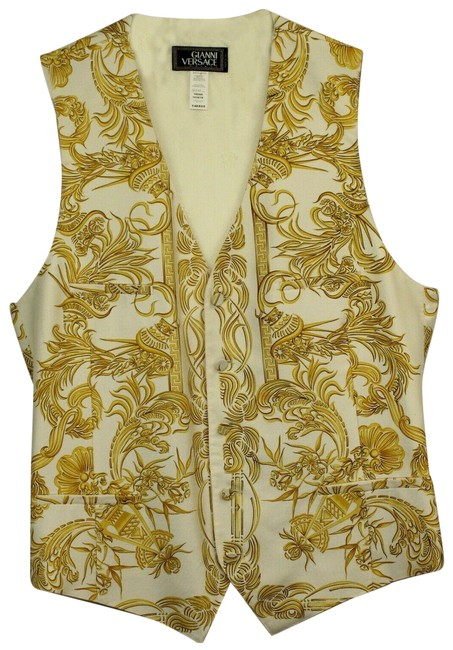Item - White Gold Gianni Couture Vintage Silk Printed Baroque Yellow Vest Size 4 (S)