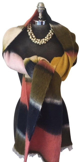 Item - Peach Navy Yellow Pale Pink Tobacco Brown Large Wrap/Scarf Scarf/Wrap
