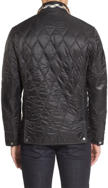 Item - Black Mens Quilted with Leather Trim Coat Jacket Size 4 (S)