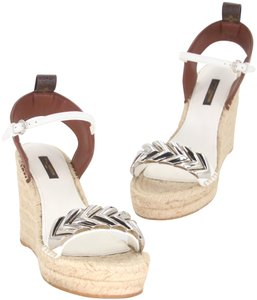 Louis Vuitton Monogram Damier Ebene Summer Spring Espadrille Greek Summer White Brown Silver-Tone Wedges