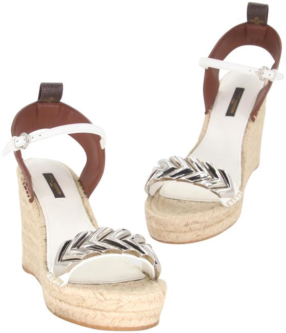 Item - White Brown Silver-tone Calfskin Leather Spring Hill Espadrille Sandals Wedges Size US 7 Regular (M, B)