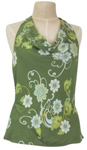 Ann Taylor Silk Floral Draped Neck Green/Blue/Gold/White Halter Top