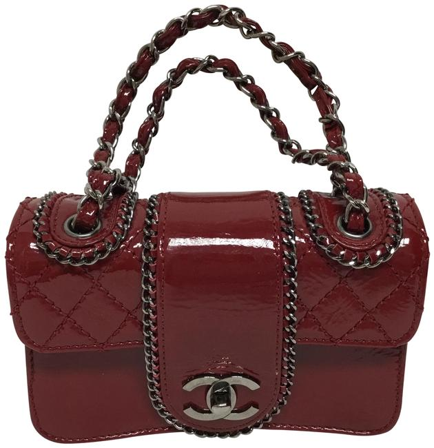 Item - Classic Flap Mini Accordion with Chain Around Burgundy Patent Leather Shoulder Bag
