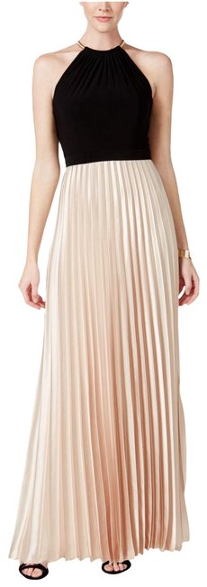 Item - Black/Taupe New Black/Taupe Colorblocked Pleated Halter Long Formal Dress Size 6 (S)