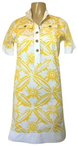 Diane von Furstenberg short dress yellow Dvf Mini Floral Short Sleeve on Tradesy