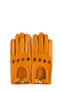 Hermès HERMES Orange Lambskin Leather Clou de Selle Gloves