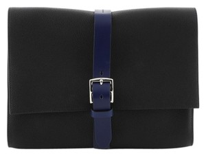 Hermès Pouch Leather Noir Maurice and Bleu Saphir Clutch