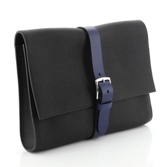 Hermès Pouch Leather Noir Maurice and Bleu Saphir Clutch Image 2