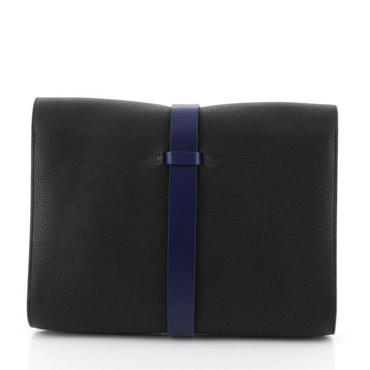 Hermès Pouch Leather Noir Maurice and Bleu Saphir Clutch Image 3