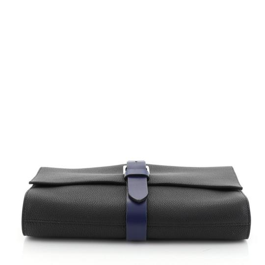 Hermès Pouch Leather Noir Maurice and Bleu Saphir Clutch Image 4