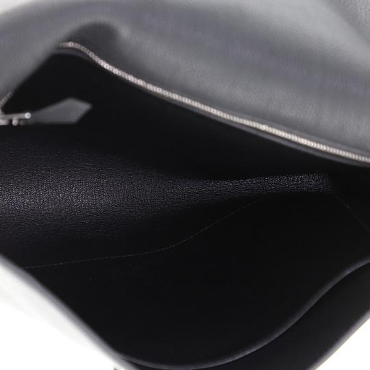 Hermès Pouch Leather Noir Maurice and Bleu Saphir Clutch Image 6