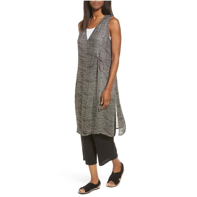Item - Black Organic Linen Blend Gauze Strata Sleeveless M Tunic Size 10 (M)