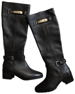 Coach Knee High Riding Pebble Grain Leather New Brown Boots