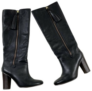 Coach Riding Tassel Knee High Leather Zipper Closure Black Boots
