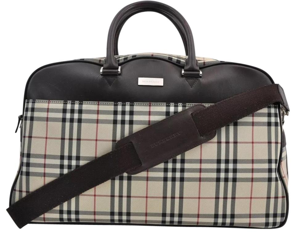 Burberry Nova Check Uni Travel Weekender Brown Canvas Weekend Bag 74 Off Retail