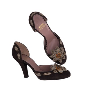 Moschino Italian Rosette D'orsay Striped Embellished Brown Pumps