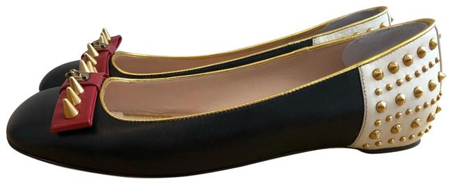 Item - Black and White with Red and Gold Accents Studded Leather Ballet Flats Size EU 38.5 (Approx. US 8.5) Regular (M, B)