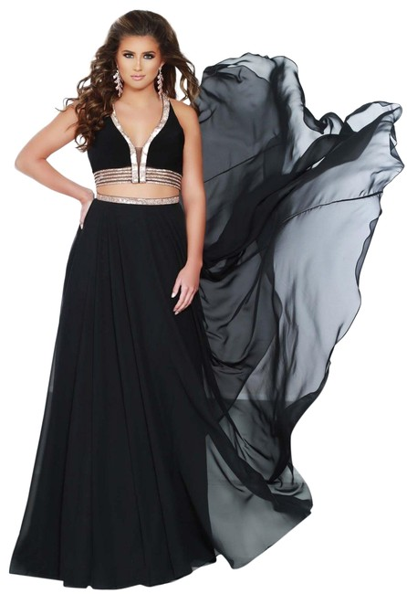 Item - Black/ Rosegold 2 Piece With Long Formal Dress Size 6 (S)
