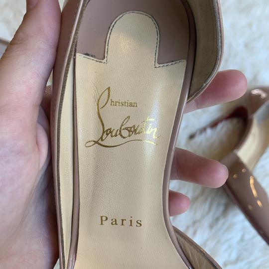 Christian Louboutin Patent Leather Work Pointed Toe Heels Nude Pumps Image 10