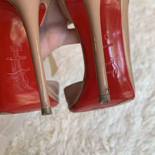 Christian Louboutin Patent Leather Work Pointed Toe Heels Nude Pumps Image 3