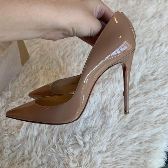 Christian Louboutin Patent Leather Work Pointed Toe Heels Nude Pumps Image 4