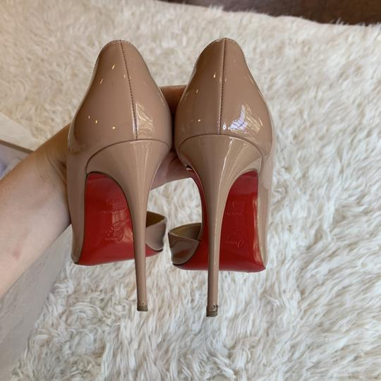 Christian Louboutin Patent Leather Work Pointed Toe Heels Nude Pumps Image 5