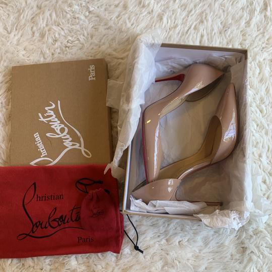 Christian Louboutin Patent Leather Work Pointed Toe Heels Nude Pumps Image 6