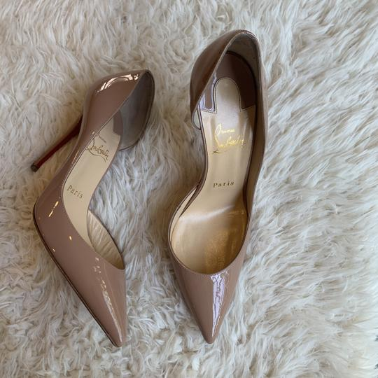 Christian Louboutin Patent Leather Work Pointed Toe Heels Nude Pumps Image 7