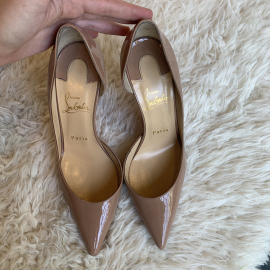 Christian Louboutin Patent Leather Work Pointed Toe Heels Nude Pumps Image 8
