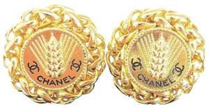 Chanel CHANEL CC Button Earrings Clip-On Gold-Tone Accessory 23 France