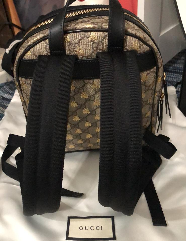 Gucci Beige/Ebony Gg Supreme Canvas with Gold Bees Print Leather Backpack  7% off retail