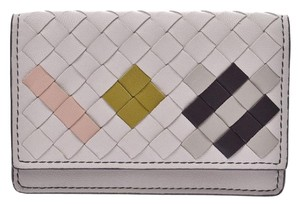 Bottega Veneta Bottega Veneta Card Case Intrechart Light Gray Ladies Men's Lambskin Beauty BOTTEGA VENETA Box